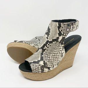 Marc Fisher Snakeskin Leather Peep Toe Wedges
